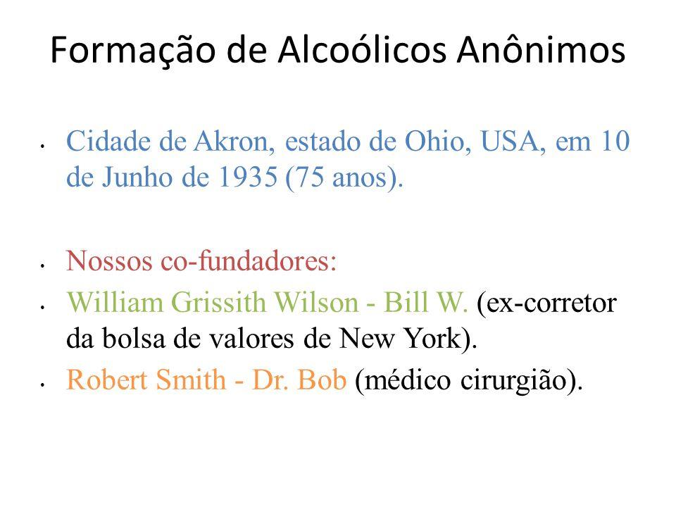 Formação de Alcoólicos Anônimos Cidade de Akron, estado de Ohio, USA, em 10 de Junho de 1935 (75 anos).