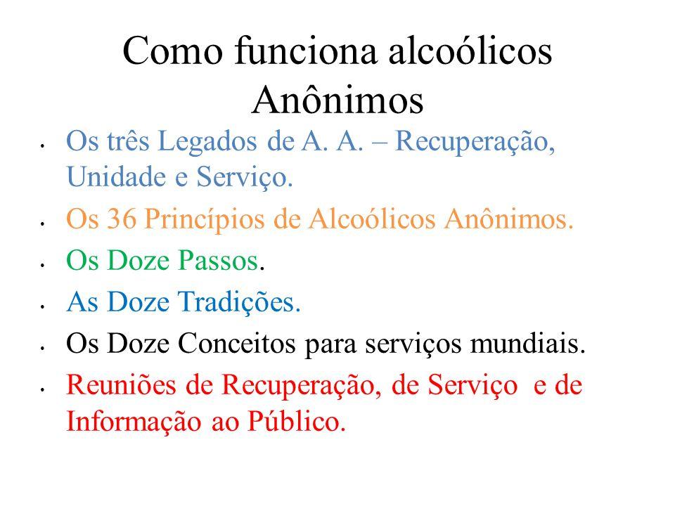 Como funciona alcoólicos Anônimos Os três Legados de A.