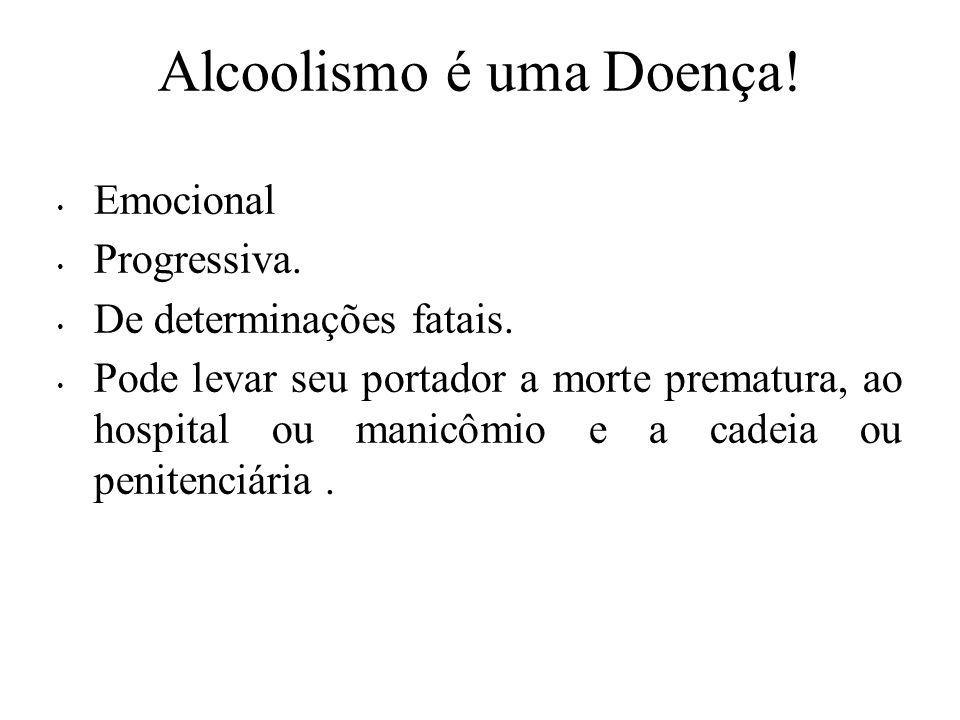 Alcoolismo é uma Doença.Emocional Progressiva. De determinações fatais.