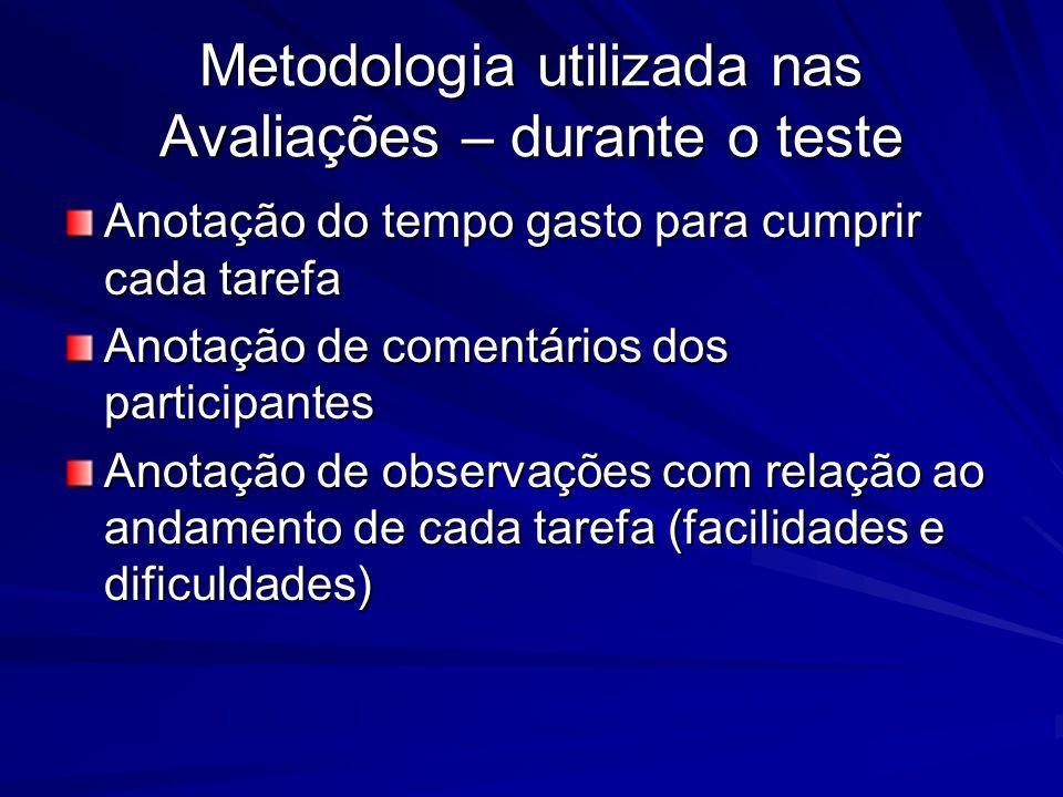 Metodologia utilizada nas Avaliações – durante o teste Anotação do tempo gasto para cumprir cada tarefa Anotação de comentários dos participantes Anotação de observações com relação ao andamento de cada tarefa (facilidades e dificuldades)