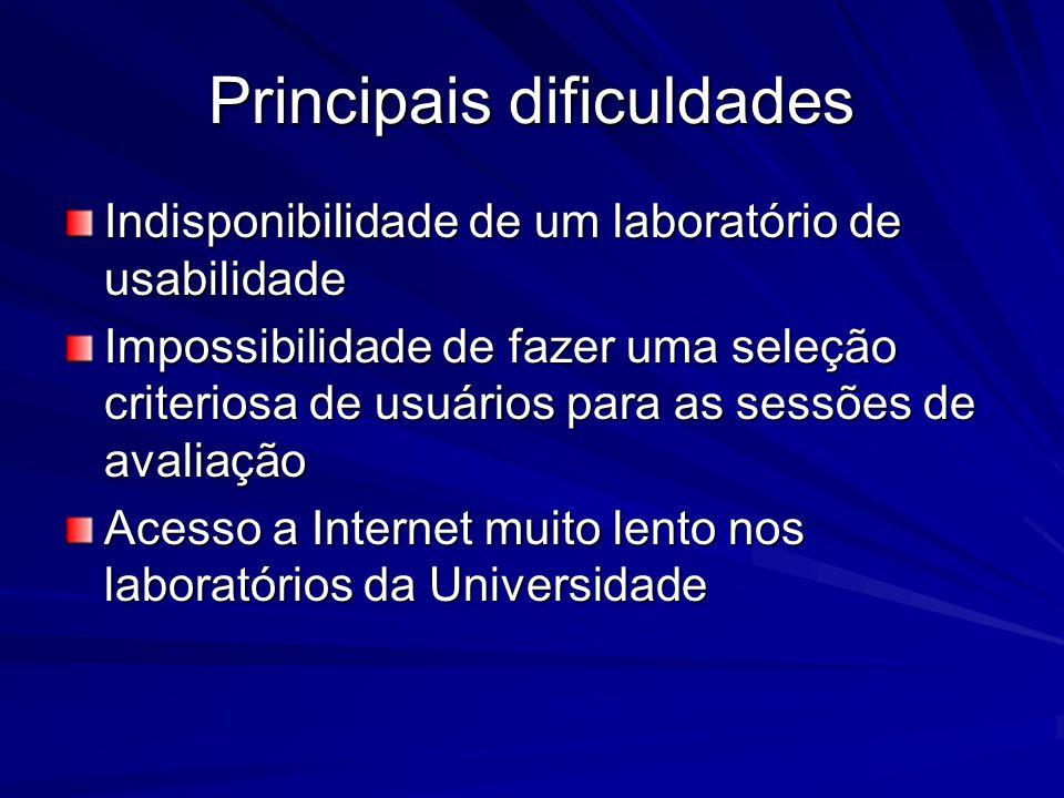Principais dificuldades Indisponibilidade de um laboratório de usabilidade Impossibilidade de fazer uma seleção criteriosa de usuários para as sessões de avaliação Acesso a Internet muito lento nos laboratórios da Universidade