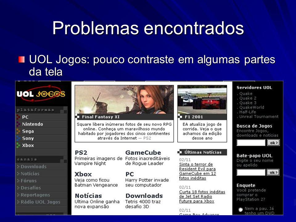Problemas encontrados UOL Jogos: pouco contraste em algumas partes da tela