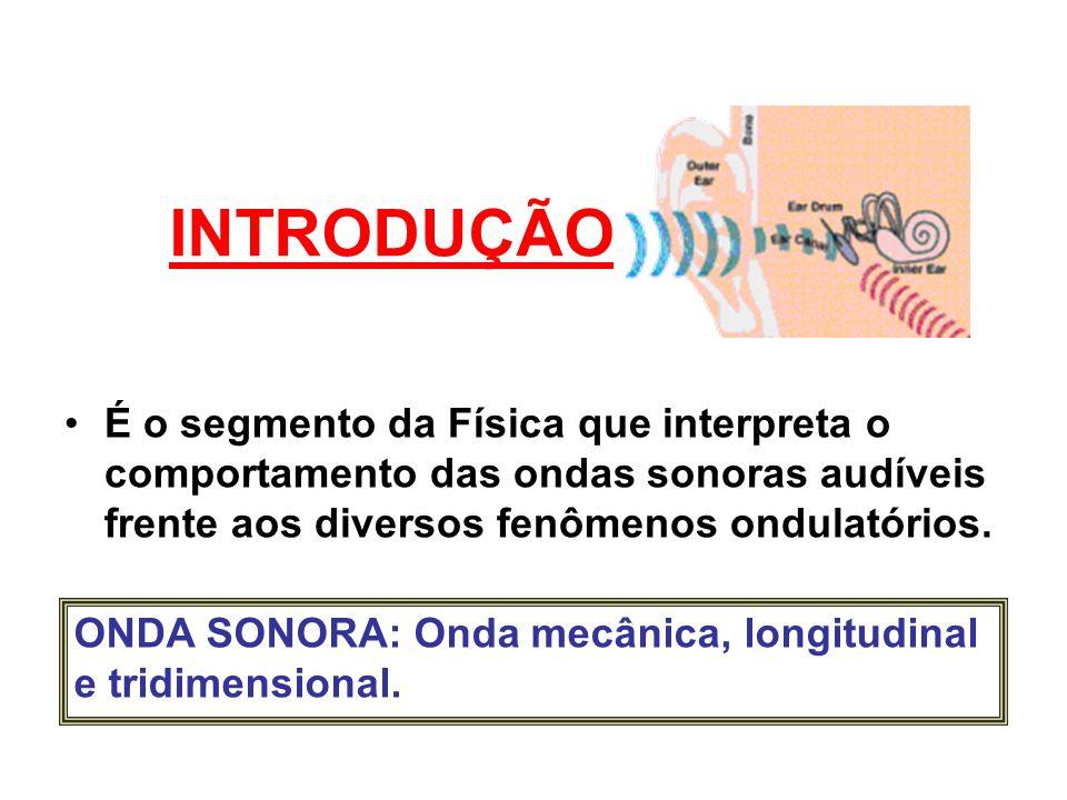 INTRODUÇÃO É o segmento da Física que interpreta o comportamento das ondas sonoras audíveis frente aos diversos fenômenos ondulatórios. ONDA SONORA: O