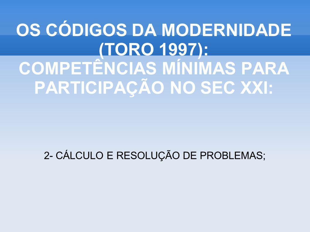 OS CÓDIGOS DA MODERNIDADE (TORO 1997): COMPETÊNCIAS MÍNIMAS PARA PARTICIPAÇÃO NO SEC XXI: 3- ANALISAR, SINTETIZAR, INTERPRETAR FATOS E SITUAÇÕES;