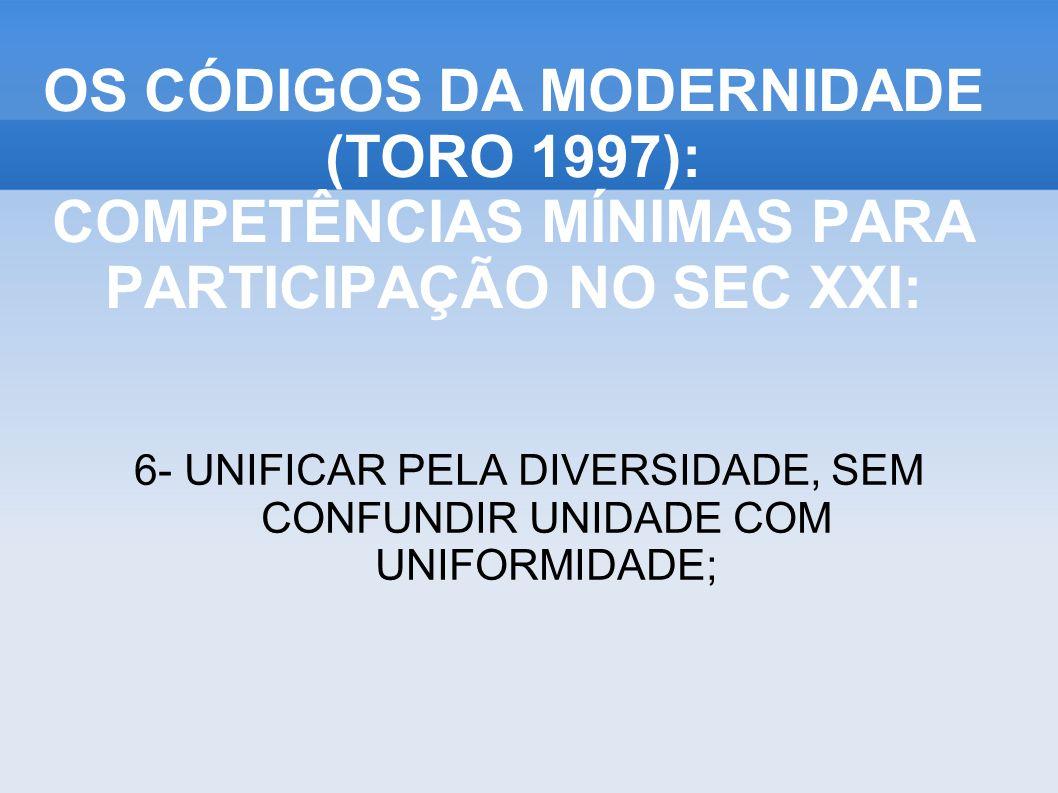 6- UNIFICAR PELA DIVERSIDADE, SEM CONFUNDIR UNIDADE COM UNIFORMIDADE; OS CÓDIGOS DA MODERNIDADE (TORO 1997): COMPETÊNCIAS MÍNIMAS PARA PARTICIPAÇÃO NO SEC XXI: