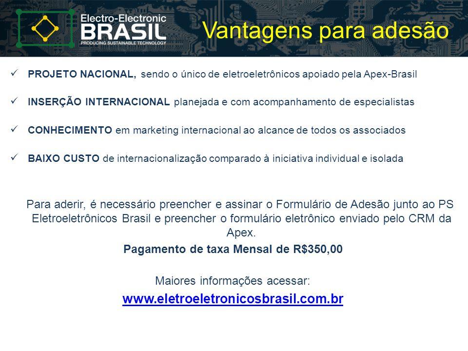 Vantagens para adesão PROJETO NACIONAL, sendo o único de eletroeletrônicos apoiado pela Apex-Brasil INSERÇÃO INTERNACIONAL planejada e com acompanhame