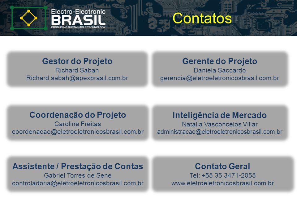 Contatos Gestor do Projeto Richard Sabah Richard.sabah@apexbrasil.com.br Gerente do Projeto Daniela Saccardo gerencia@eletroeletronicosbrasil.com.br C