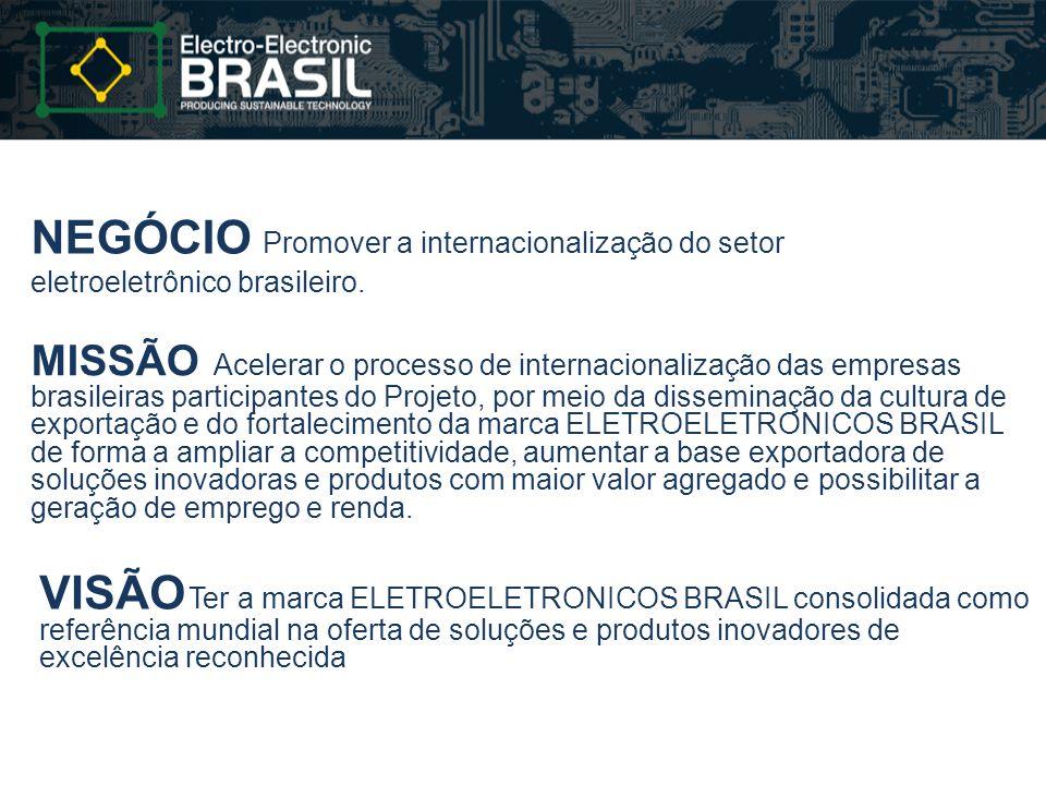 NEGÓCIO Promover a internacionalização do setor eletroeletrônico brasileiro. MISSÃO Acelerar o processo de internacionalização das empresas brasileira