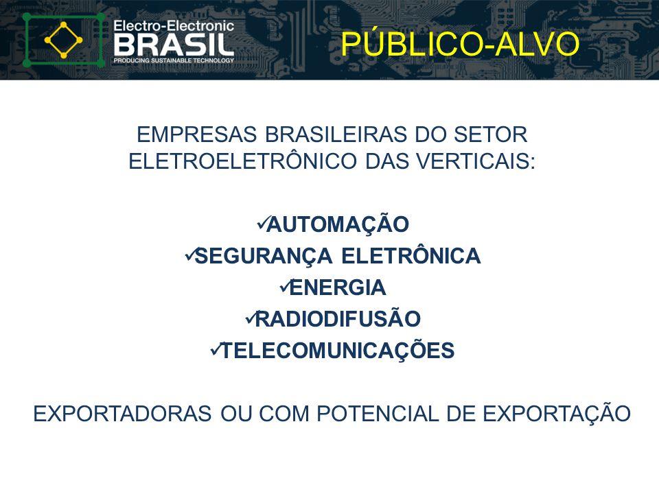 PÚBLICO-ALVO EMPRESAS BRASILEIRAS DO SETOR ELETROELETRÔNICO DAS VERTICAIS: AUTOMAÇÃO SEGURANÇA ELETRÔNICA ENERGIA RADIODIFUSÃO TELECOMUNICAÇÕES EXPORT