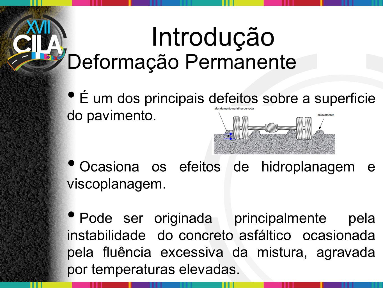 Introdução Os parâmetros que influenciam na deformação permanente: a temperatura, o teor de vazios, a granulometria, o tipo e teor de cimento asfáltico etc.