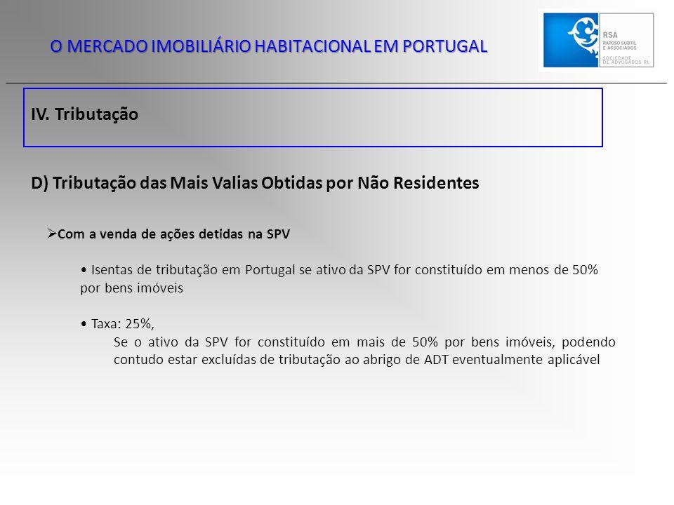 IV. Tributação O MERCADO IMOBILIÁRIO HABITACIONAL EM PORTUGAL D) Tributação das Mais Valias Obtidas por Não Residentes  Com a venda de ações detidas