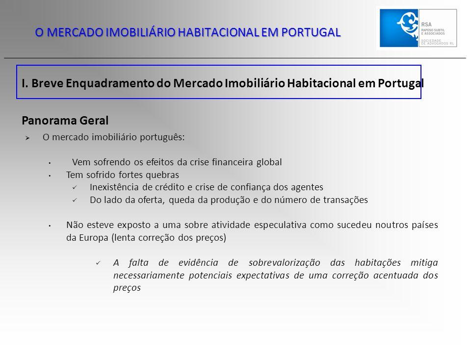 I. Breve Enquadramento do Mercado Imobiliário Habitacional em Portugal Panorama Geral  O mercado imobiliário português: Vem sofrendo os efeitos da cr