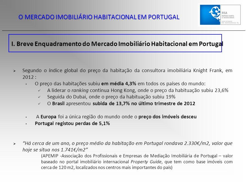 O MERCADO IMOBILIÁRIO HABITACIONAL EM PORTUGAL I. Breve Enquadramento do Mercado Imobiliário Habitacional em Portugal  Segundo o índice global do pre