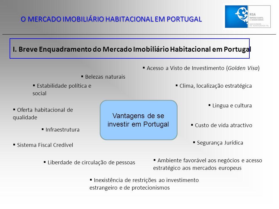 O MERCADO IMOBILIÁRIO HABITACIONAL EM PORTUGAL I. Breve Enquadramento do Mercado Imobiliário Habitacional em Portugal Vantagens de se investir em Port