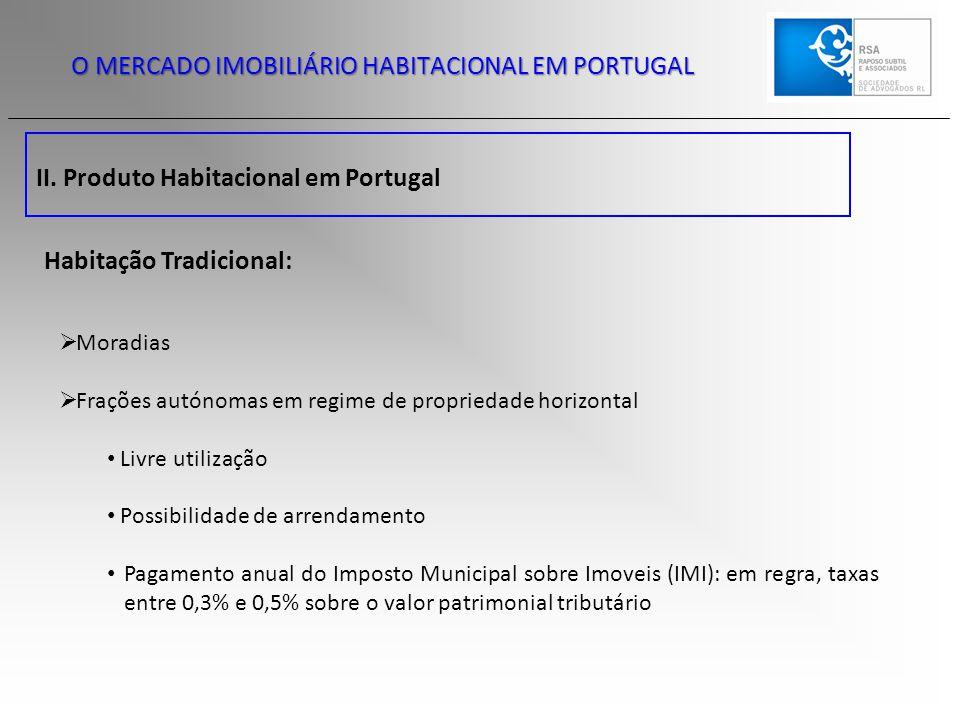 II. Produto Habitacional em Portugal O MERCADO IMOBILIÁRIO HABITACIONAL EM PORTUGAL  Moradias  Frações autónomas em regime de propriedade horizontal