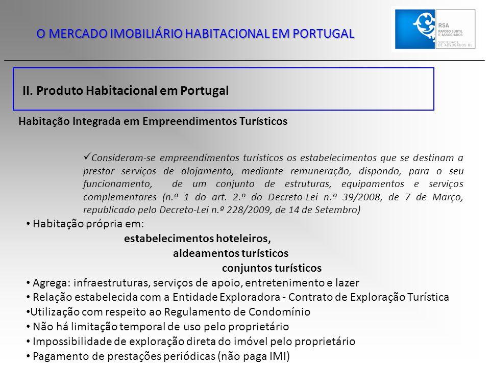 II. Produto Habitacional em Portugal O MERCADO IMOBILIÁRIO HABITACIONAL EM PORTUGAL Habitação Integrada em Empreendimentos Turísticos Consideram-se em