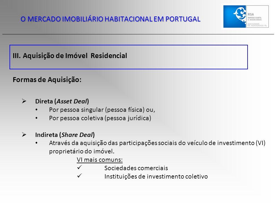III. Aquisição de Imóvel Residencial O MERCADO IMOBILIÁRIO HABITACIONAL EM PORTUGAL Formas de Aquisição:  Direta (Asset Deal) Por pessoa singular (pe