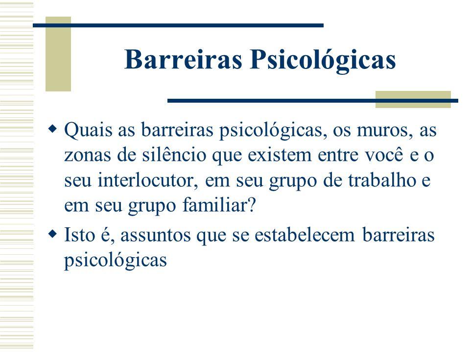 Barreiras Psicológicas  Quais as barreiras psicológicas, os muros, as zonas de silêncio que existem entre você e o seu interlocutor, em seu grupo de