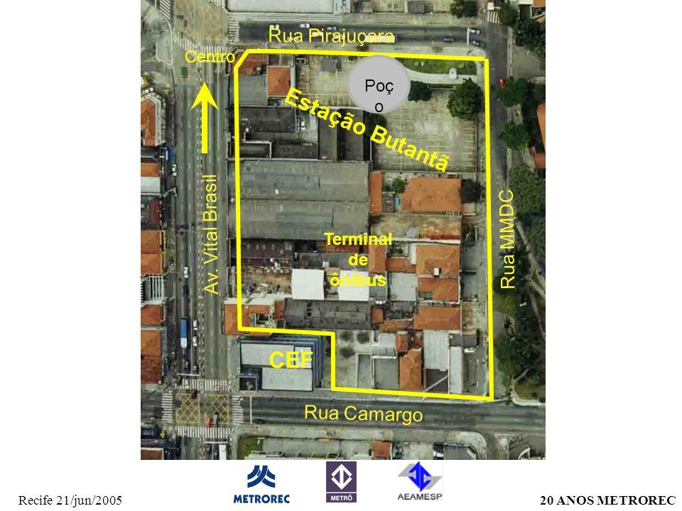 20 ANOS METRORECRecife 21/jun/2005 Av. Vital Brasil Rua MMDC Rua Camargo Rua Pirajuçara Poç o Terminal de ônibus Estação Butantã Centro CEF