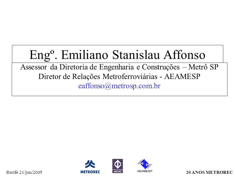 20 ANOS METRORECRecife 21/jun/2005 Engº. Emiliano Stanislau Affonso Assessor da Diretoria de Engenharia e Construções – Metrô SP Diretor de Relações M