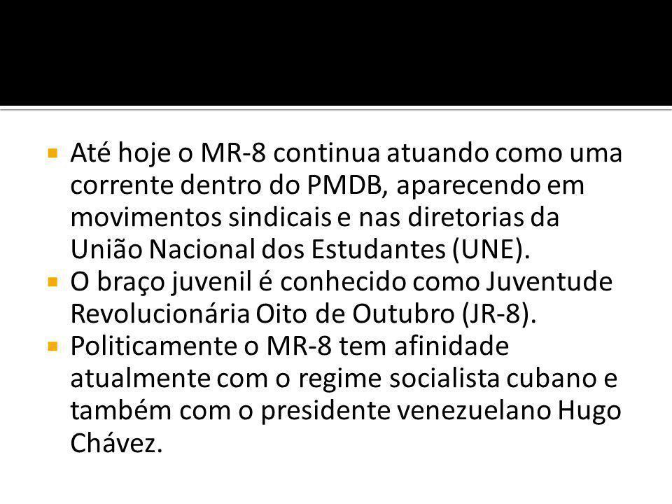  Até hoje o MR-8 continua atuando como uma corrente dentro do PMDB, aparecendo em movimentos sindicais e nas diretorias da União Nacional dos Estudantes (UNE).