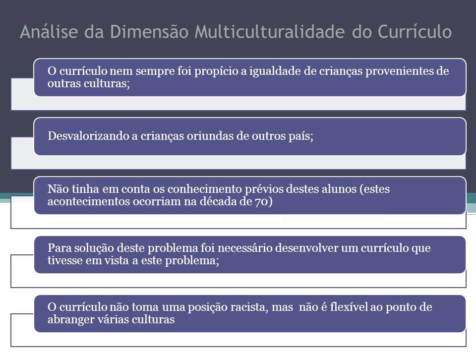 Análise da Dimensão Multiculturalidade do Currículo O currículo nem sempre foi propício a igualdade de crianças provenientes de outras culturas; Desva