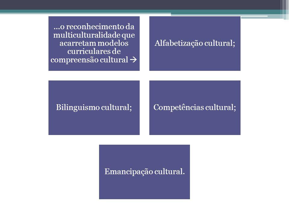 …o reconhecimento da multiculturalidade que acarretam modelos curriculares de compreensão cultural  Alfabetização cultural; Bilinguismo cultural;Comp