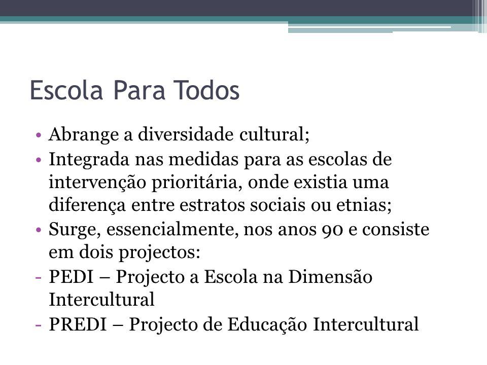 Escola Para Todos Abrange a diversidade cultural; Integrada nas medidas para as escolas de intervenção prioritária, onde existia uma diferença entre e