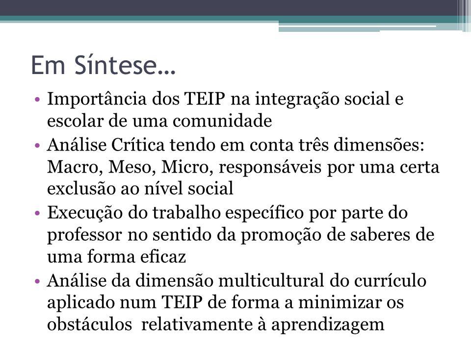 Em Síntese… Importância dos TEIP na integração social e escolar de uma comunidade Análise Crítica tendo em conta três dimensões: Macro, Meso, Micro, r