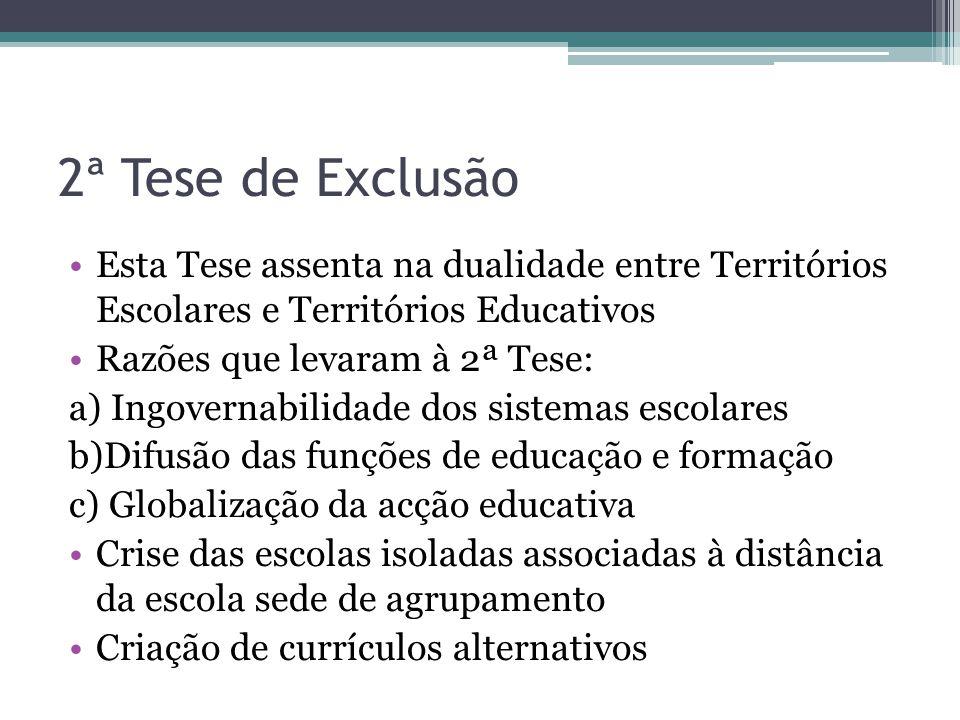2ª Tese de Exclusão Esta Tese assenta na dualidade entre Territórios Escolares e Territórios Educativos Razões que levaram à 2ª Tese: a) Ingovernabili