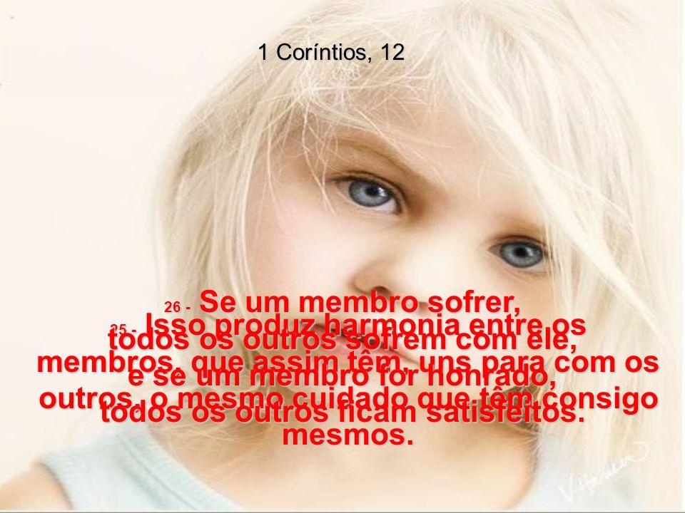 1 Coríntios, 12 25 - Isso produz harmonia entre os membros, que assim têm, uns para com os outros, o mesmo cuidado que têm consigo mesmos.