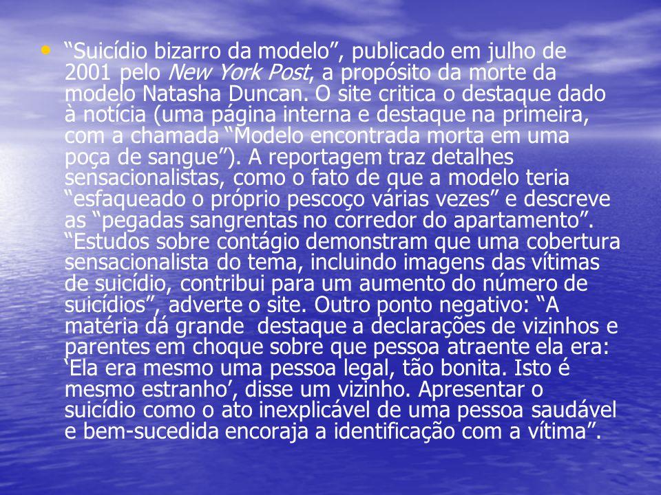 """""""Suicídio bizarro da modelo"""", publicado em julho de 2001 pelo New York Post, a propósito da morte da modelo Natasha Duncan. O site critica o destaque"""