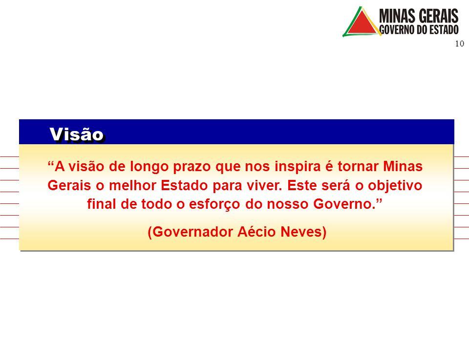 """10 Visão """"A visão de longo prazo que nos inspira é tornar Minas Gerais o melhor Estado para viver. Este será o objetivo final de todo o esforço do nos"""