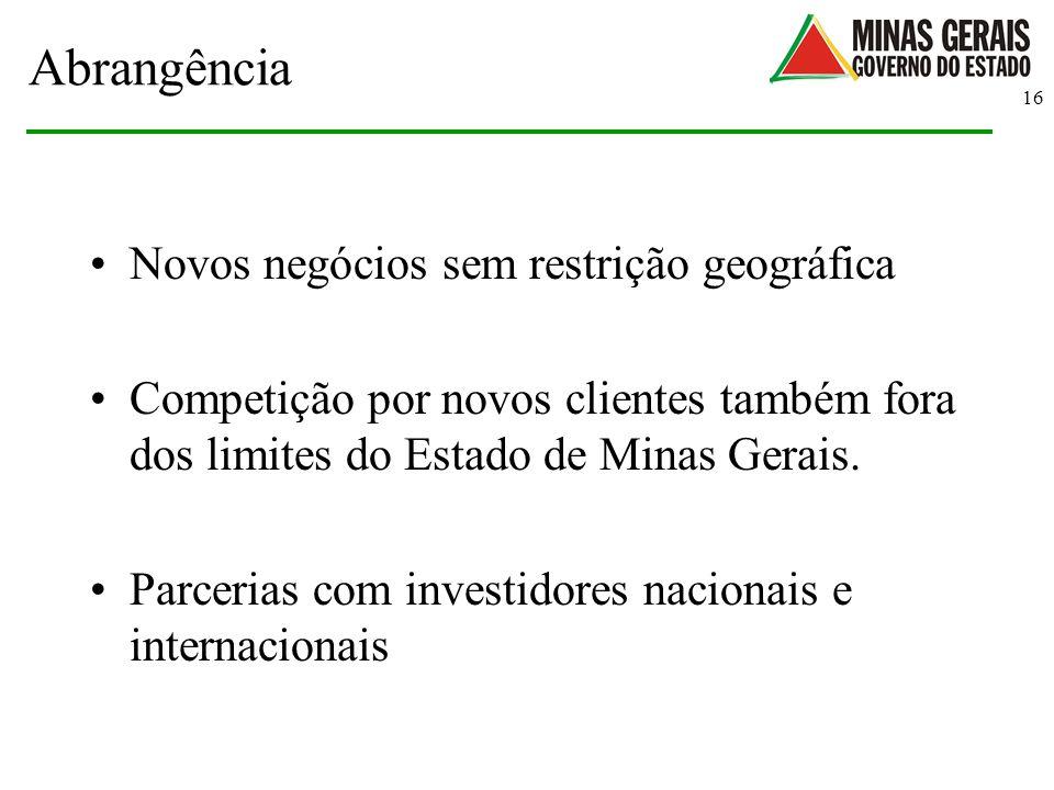 16 Abrangência Novos negócios sem restrição geográfica Competição por novos clientes também fora dos limites do Estado de Minas Gerais. Parcerias com