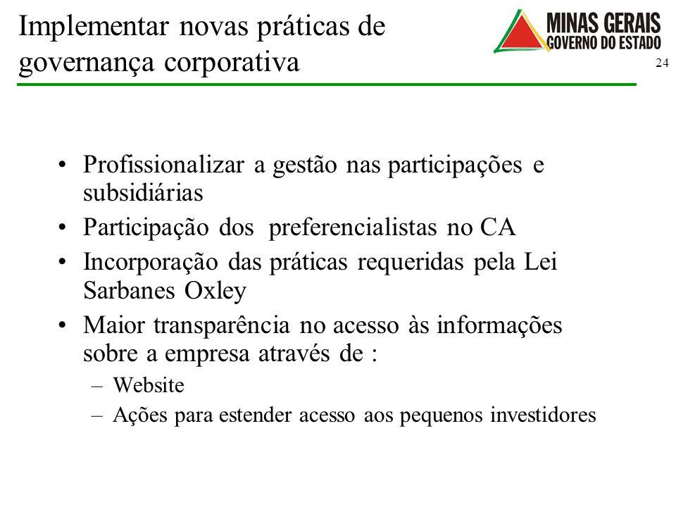 24 Implementar novas práticas de governança corporativa Profissionalizar a gestão nas participações e subsidiárias Participação dos preferencialistas