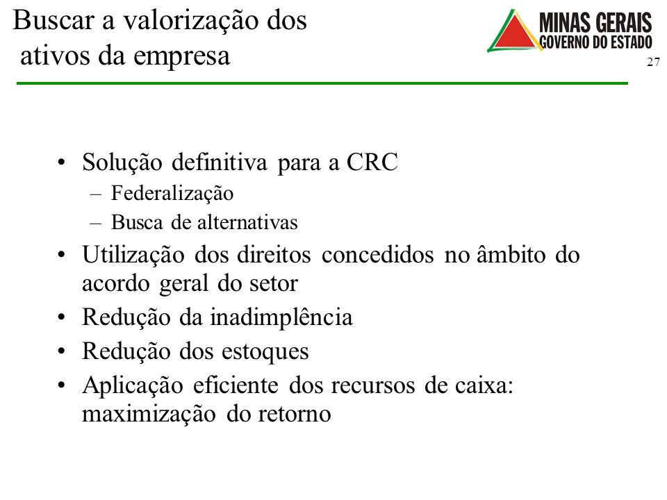 27 Buscar a valorização dos ativos da empresa Solução definitiva para a CRC –Federalização –Busca de alternativas Utilização dos direitos concedidos n