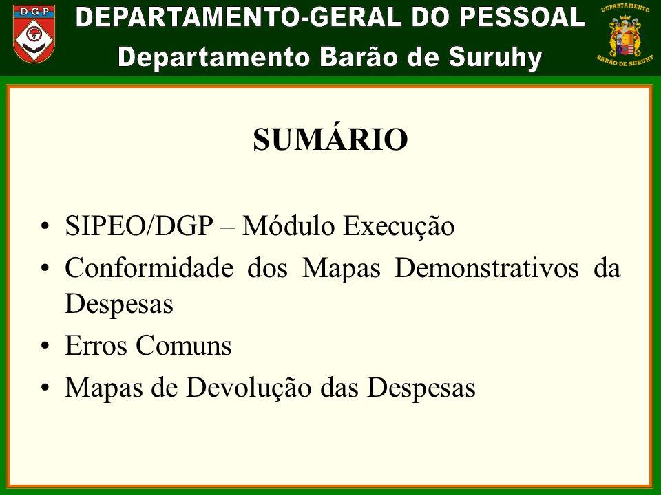 SUMÁRIO SIPEO/DGP – Módulo Execução Conformidade dos Mapas Demonstrativos da Despesas Erros Comuns Mapas de Devolução das Despesas