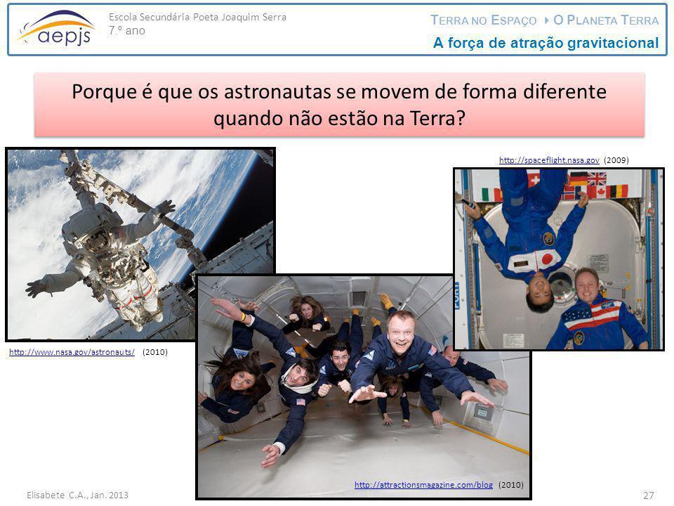 Elisabete C.A., Jan. 2013 Escola Secundária Poeta Joaquim Serra 7.º ano T ERRA NO E SPAÇO  O P LANETA T ERRA A força de atração gravitacional 27 Porq
