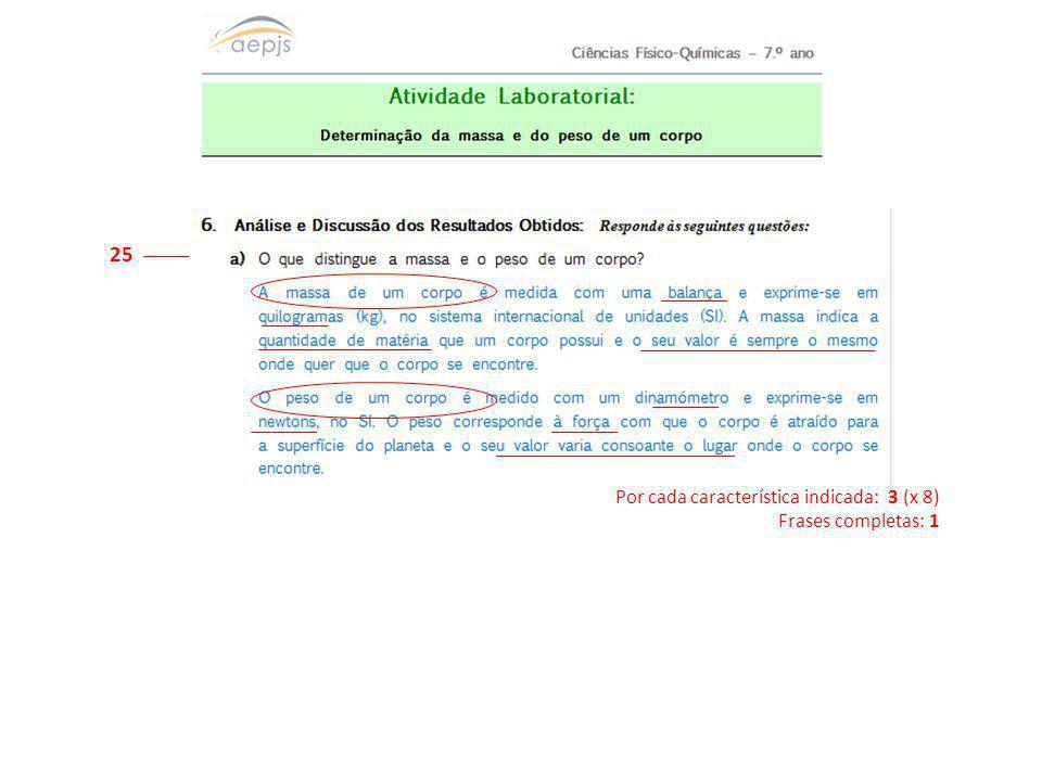 25 Por cada característica indicada: 3 (x 8) Frases completas: 1