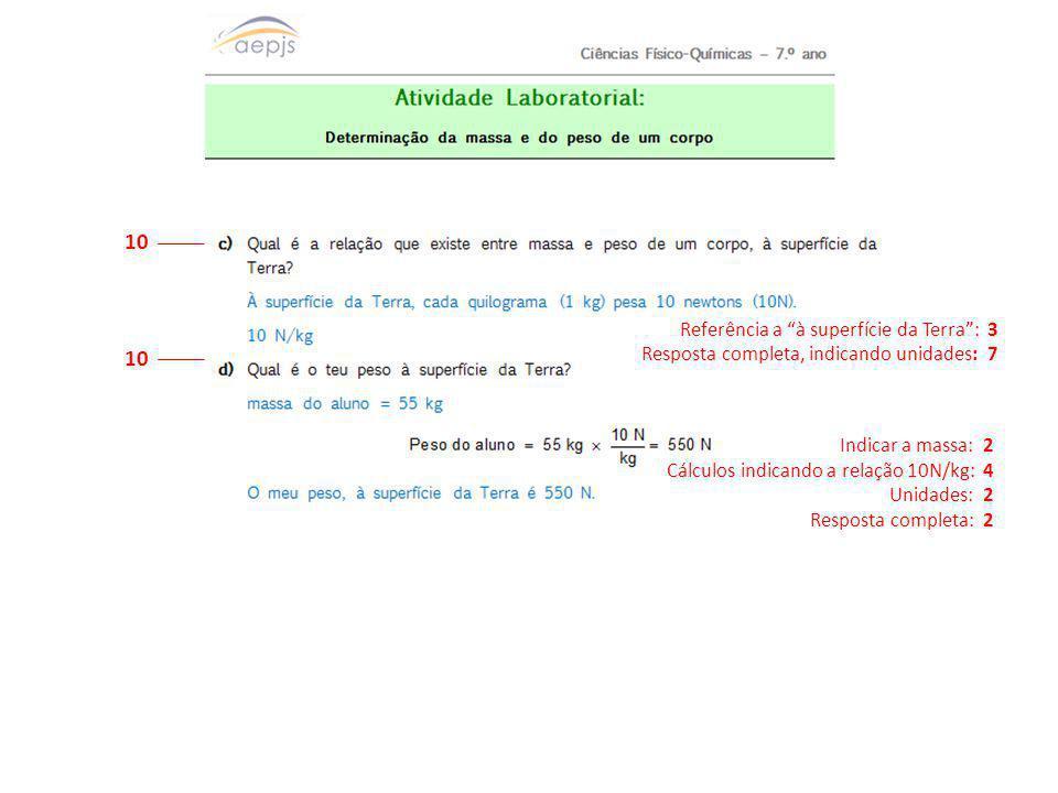 """10 Indicar a massa: 2 Cálculos indicando a relação 10N/kg: 4 Unidades: 2 Resposta completa: 2 Referência a """"à superfície da Terra"""": 3 Resposta complet"""