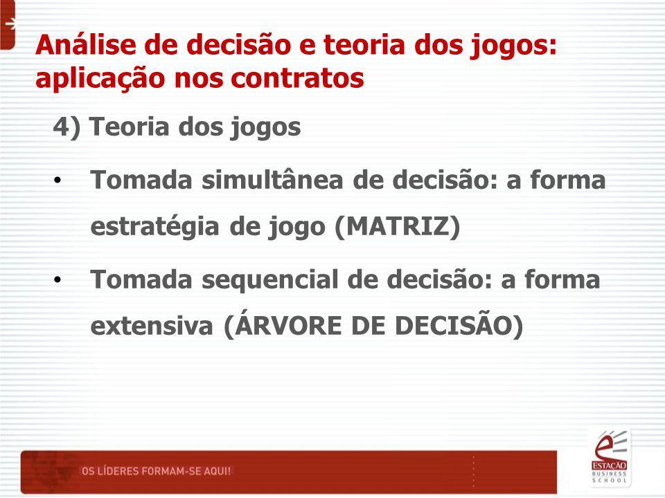 Análise de decisão e teoria dos jogos: aplicação nos contratos 4) Teoria dos jogos Tomada simultânea de decisão: a forma estratégia de jogo (MATRIZ) Tomada sequencial de decisão: a forma extensiva (ÁRVORE DE DECISÃO)