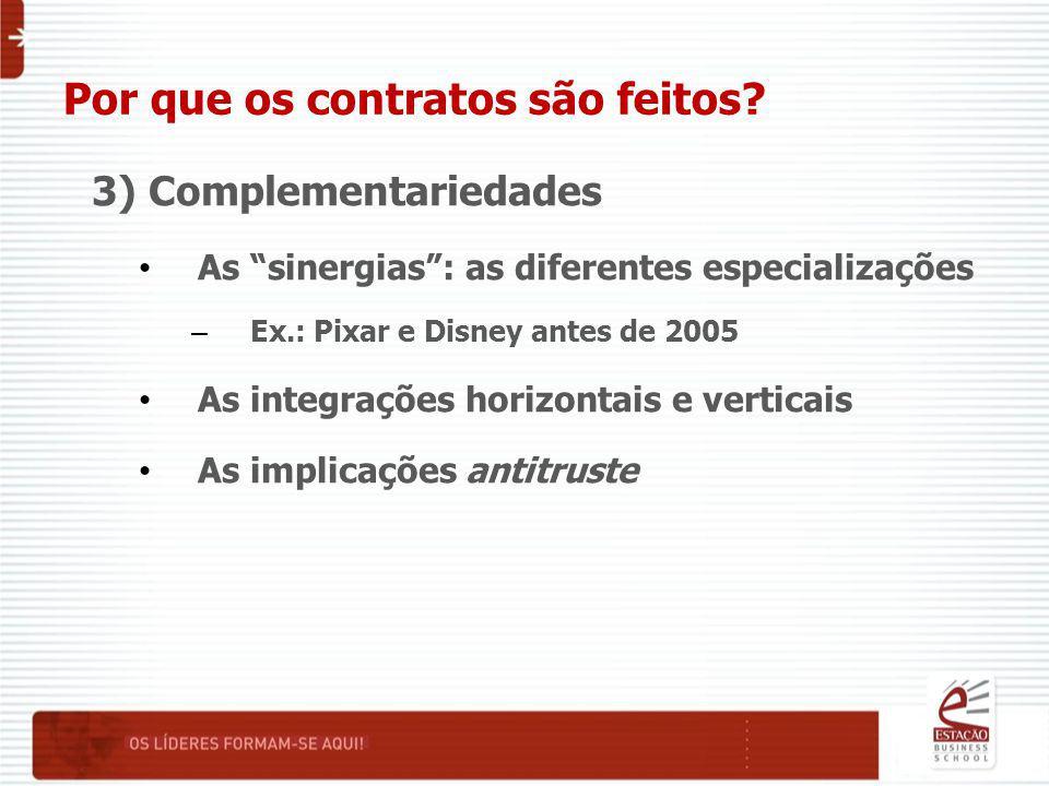 """Por que os contratos são feitos? 3) Complementariedades As """"sinergias"""": as diferentes especializações – Ex.: Pixar e Disney antes de 2005 As integraçõ"""