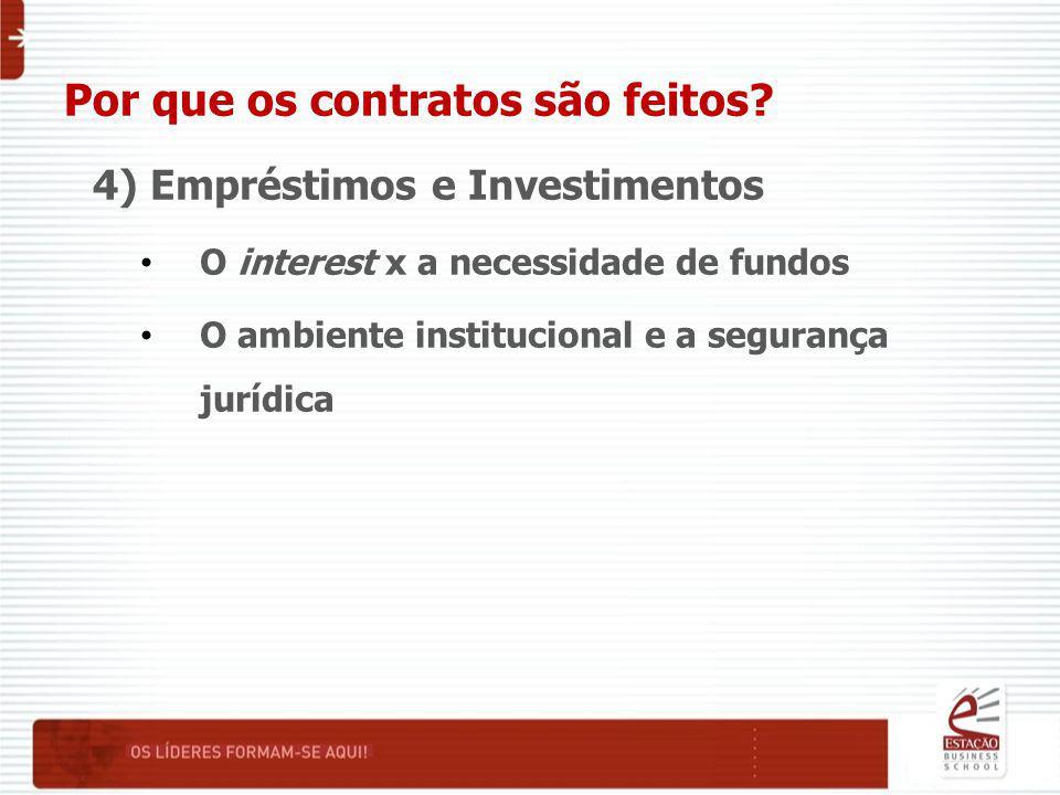 Por que os contratos são feitos? 4) Empréstimos e Investimentos O interest x a necessidade de fundos O ambiente institucional e a segurança jurídica
