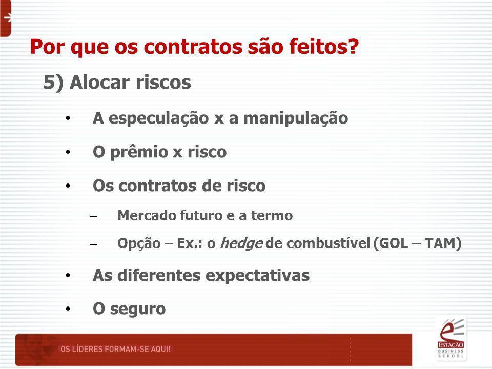 Por que os contratos são feitos? 5) Alocar riscos A especulação x a manipulação O prêmio x risco Os contratos de risco – Mercado futuro e a termo – Op