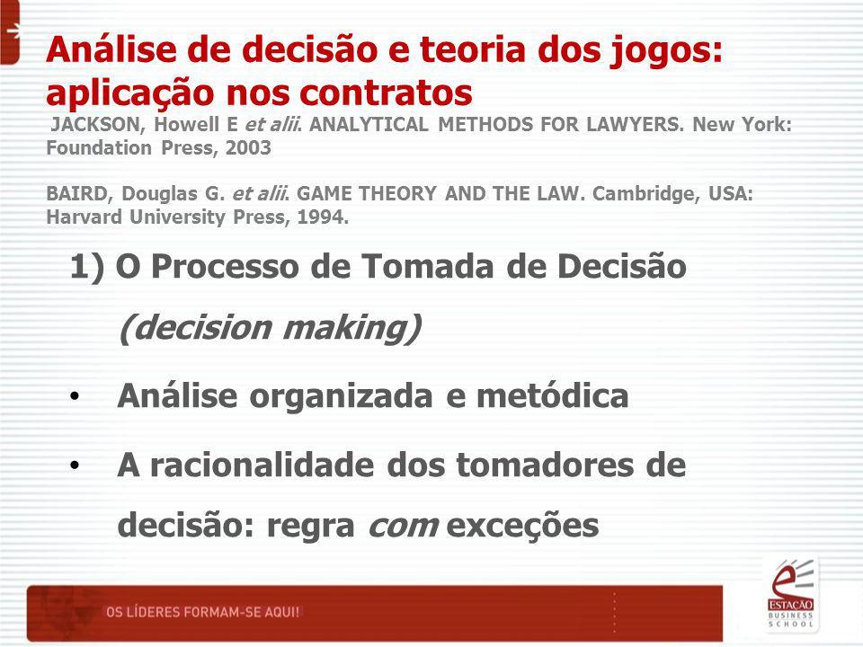 Análise de decisão e teoria dos jogos: aplicação nos contratos JACKSON, Howell E et alii. ANALYTICAL METHODS FOR LAWYERS. New York: Foundation Press,