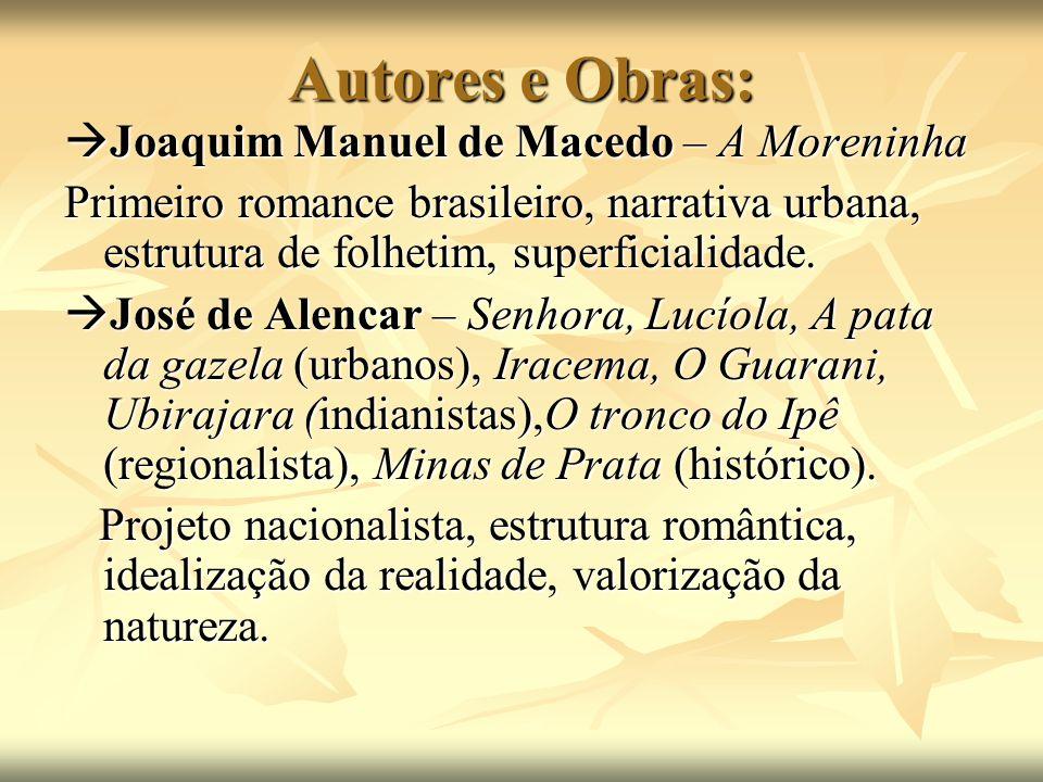 Autores e Obras:  Joaquim Manuel de Macedo – A Moreninha Primeiro romance brasileiro, narrativa urbana, estrutura de folhetim, superficialidade.