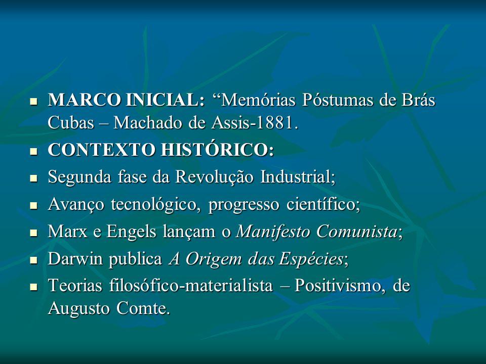 MARCO INICIAL: Memórias Póstumas de Brás Cubas – Machado de Assis-1881.