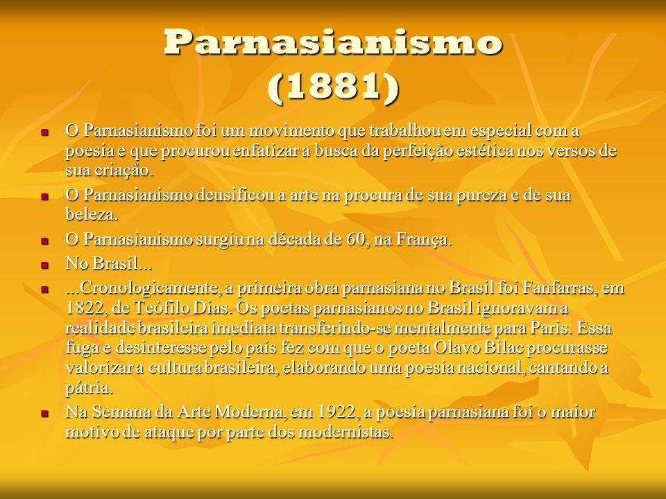 Parnasianismo (1881) O Parnasianismo foi um movimento que trabalhou em especial com a poesia e que procurou enfatizar a busca da perfeição estética nos versos de sua criação.