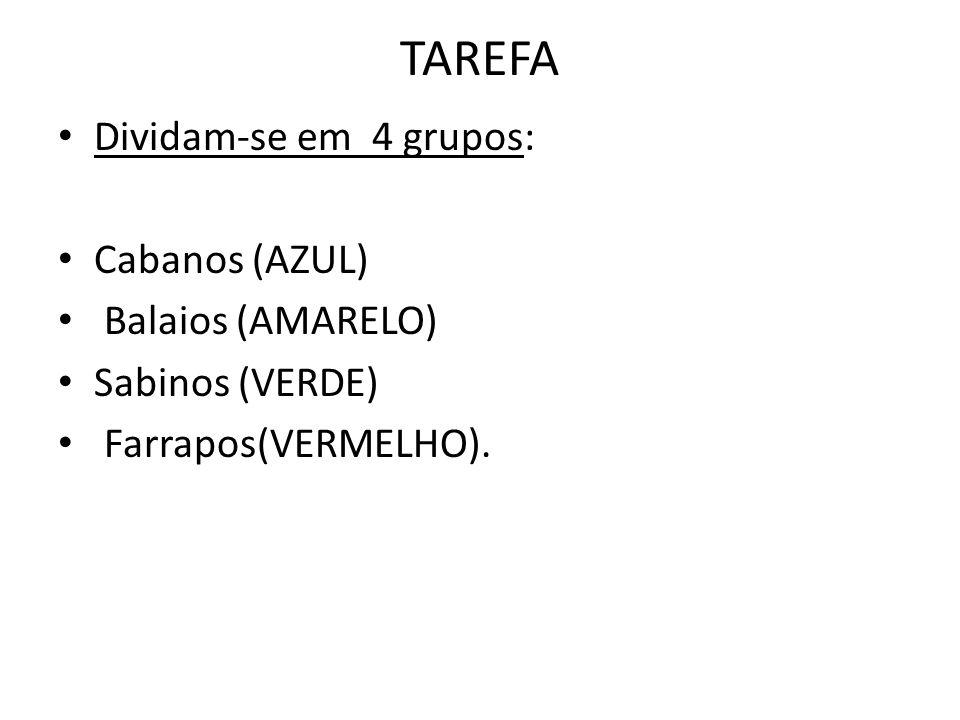 TAREFA Dividam-se em 4 grupos: Cabanos (AZUL) Balaios (AMARELO) Sabinos (VERDE) Farrapos(VERMELHO).