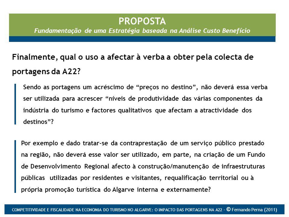 PROPOSTA Fundamentação de uma Estratégia baseada na Análise Custo Benefício Finalmente, qual o uso a afectar à verba a obter pela colecta de portagens da A22.
